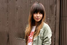 Ombre hair with straight bangs