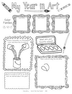End of the Year Worksheets for Elementary Art