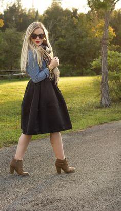 Black Skirt + Chambray
