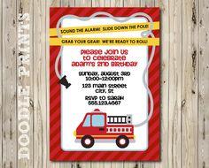 "Printable Fire Truck Birthday Party Invitation - Customized Printable Invitation Boy's Party ""Fire Alarm Fire Fighter Design"". $8.00, via Etsy."