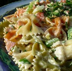 Recipe for Tuxedo Bow Tie Pasta Salad - The perfect pasta salad for picnics, potlucks and gatherings. I've made this without the mayo, using the artichoke marinade in it's place, and it was equally fabulous and well received! Best served well chilled.