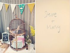 vintage bird cage for wedding cards