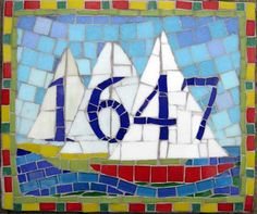 MOSAIC HOUSE NUMBERS mosaic hous, hous number, number sign, house numbers, sailboat, stained glass, mosaic sign