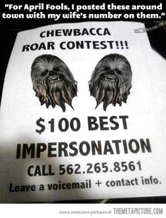 Chewbacca roar contest…