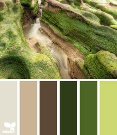 Color: Moss Tones by Design Seeds - light beige, medium beige, brown, moss green, medium green, melon green.