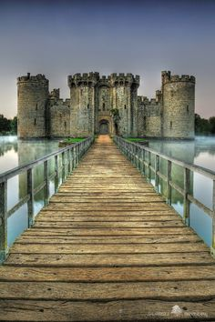 Built in 1385, Bodiam Castle in East Sussex, England, is a perfect example of a late medieval moated castle.