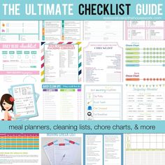 25 organizational checklists. Cleaning to meal planning and more.