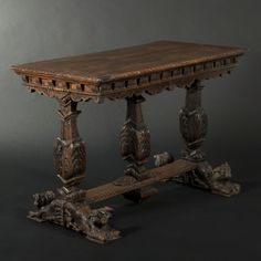 Walnut and oak table, renaissance style - furniture | #BuyArtOnline | Expertissim