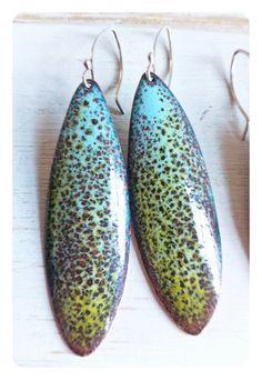 Large++Enamel+Leaf+Crocodile+Earrings+with+by+JanineGibbonsDesigns,+$52.00
