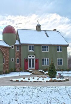 I can't wait to make our own unique house like this!  Barn house with silo attached to garage