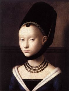 Portrait of Young Girl, 1470. Gothic Style V neck gown.