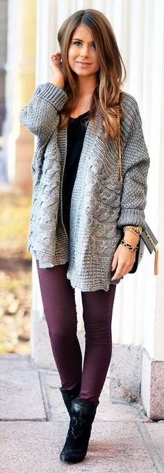 Grey Cable Knit Chunky Cardi by Mariannan
