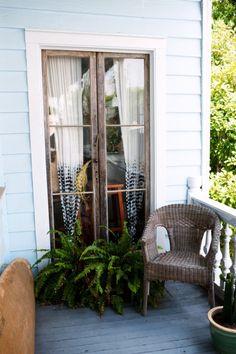 blue houses, door, porch, curtain