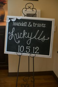 "wedding chalk board lettering. lace bunting. ""lucky us"""