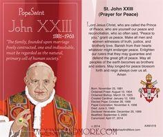 Pope Saint John XXIII Holy Card