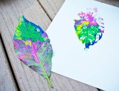 Leaf prints, great summer activity for the kids
