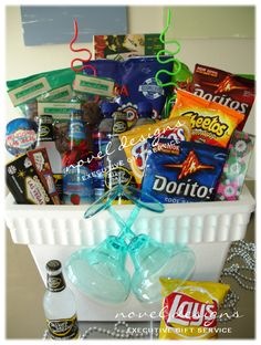 Cooler Snack Basket. Great gift idea for a college student