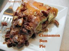 A single whiff of Cinnamon Bun Pie - just as it comes out of the oven - is all the evidence needed to prove it's worth making just for the wonderful aroma! #breakfast #dessert #coffeecake shadi porch, bun pie, dessert