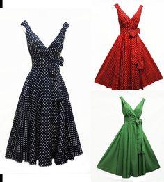 New Ladies Vtg 1950s style  Polka Dot Rockabilly Cotton Summer Swing Tea Dress