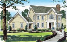 The dining and living rooms flank the foyer, which continues straight back into an inviting family room in this Colonial style home.  Colonial House Plan # 391418.