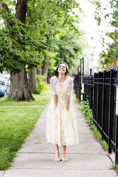 Stunning untraditional wedding gown from the Crafty Broads. #wedding #gown #bride #yellow http://www.craftybroads.com/louise-yellow-and-lace-tea-length-wedding-dress/