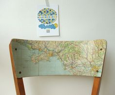 collage + varnish + decoupage + furniture + chair + maps