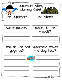 superhero planning sheet