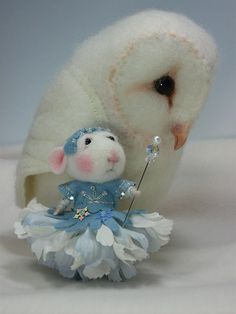 Needle Felted owl and mouse.