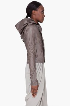Rick Owens Grey Hooded Leather Jacket