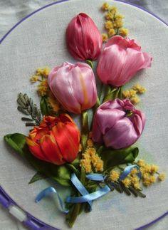 ribbon work tulips