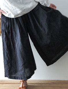 "linen pants from ""Envelope"", Japan. for dancing in with stripey socks"