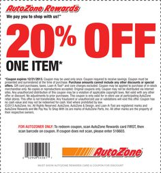AutoZone Coupon Codes 19 Coupons $18 Average savings If there is one thing that everyone knows about car ownership it is that there is no such thing as a cheap repair/5.