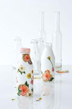 Decoupage a bottle