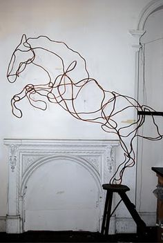 Dancing Horse Copper Pipe Sculpture by Australian artist Anna-Wili Highfield.   EquippedEquine.com SIGN UP NOW for $10 Off Your 1st Order! #horse #horses #equine #equestrian #equippedequine #beautiful #design #interiordesign #art