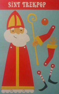 Sinterklaas/ Sint Nicolaas Knutselblad; Vrolijke Sint Trekpop! :-D