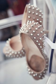 Spiked Christian Louboutin peep toes! #wedding #shoes