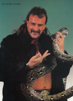 """Jake """"The Snake"""" Roberts with Damien"""