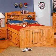 Bayview Full Palomino Bed With Captain's Underdresser by Trendwood - Furniture Options New York - Captain's Bed Orange County, Middletown, Monroe, Hudson Valley, New York and Morris County, Wayne County, New Jersey