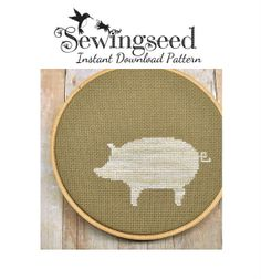 INSTANT DOWNLOAD Pig Silhouette Cross Stitch Pattern by Sewingseed, $4.00