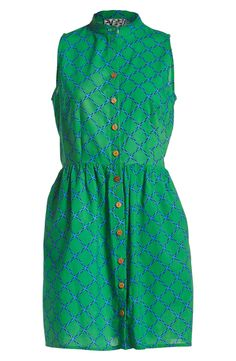 Love everything about this green and blue sleeveless banded collar dress!