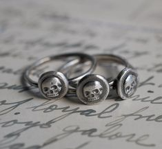 skull ring wax seal seriously small by suegrayjewelry on Etsy, $35.00