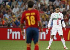 Euro 2012 Semi Final: Spain - Portugal. Ronaldo looks intense.