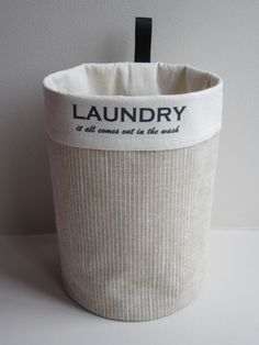 Clothespin Bag - Round Fabric Basket Bin Organizer- Laundry Room Decor - Clothes pin Holder. $22.00, via Etsy.