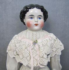 "China Head Lady Doll 22"" Turned Head Exposed Ears"