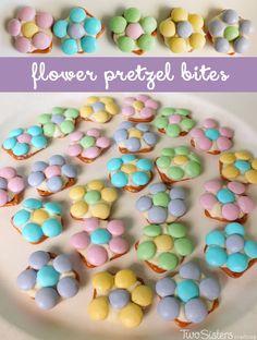 Flower Pretzel Bites - a delicious Easter snack.