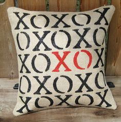 stenciled burlap xo pillow for valentine's day!