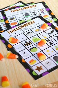 Free Printable Halloween Bingo Games for Kids Parties from Crazy Little Projects - so cute!