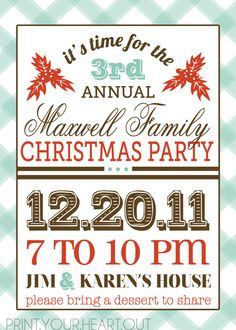 vintage retro Christmas party invitation  I really like this idea for my mom and dad's annual xmas party! plain, simple, and to the point!