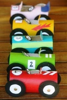 Toilet paper tube cars
