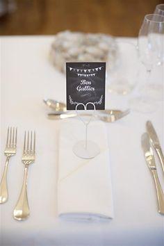 Blackboard wedding place setting. Want these!